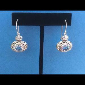 SS Blue Topaz Cawi Dangle Earrings